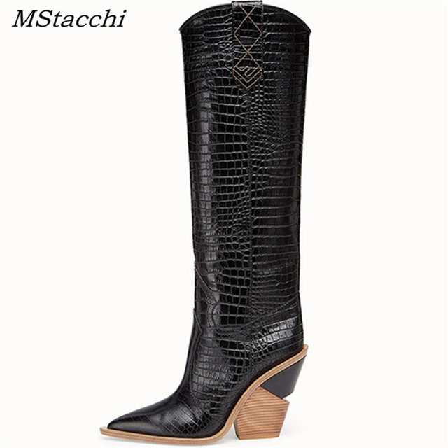 MStacchi 2019 New Fashion Embossing Plaid Runway Boots Women Knee High Boots Pointed Toe Strange High Heel Ladies Chelsea Boots