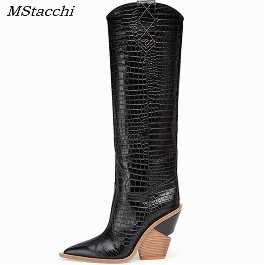 MStacchi 2019 Yeni Moda Kabartma Ekose Pist Çizmeler Kadın Diz Yüksek Çizmeler Sivri Burun Garip Yüksek Topuk Bayanlar Chelsea Çizmeler