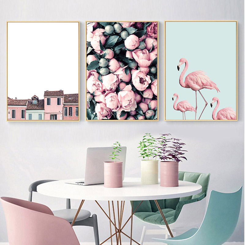 Ocean Flower Flamingo Canvas Poster Nordic Landscape Wall Art Print Painting Scandinavian Decoration Picture Modern Home Decor in Painting Calligraphy from Home Garden