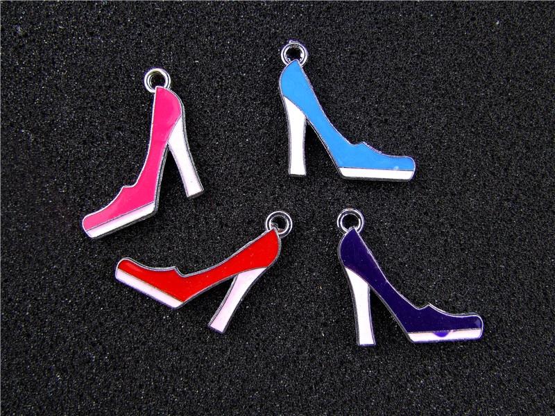 ee1042426 AE776 مزيج اللون 20 قطع سبائك معادن المينا عالية الكعب حذاء سحر قلادة 32x17  ملليمتر