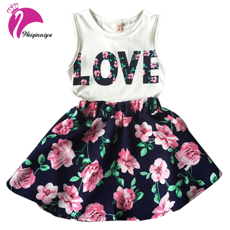 2017 Girl Set New Brand Children Girls Flower Print Sleeveless Sets Kids T-shirt + Skirt Suit Clothes 6-14 Year Free Shipping retail design children clothing set for kids girl dark blue cardigan t shirt pink skirt high quality 2014 new free shipping