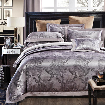 King size bedding embroidery Jacquard bed linen for wedding 100% cotton stain duvet cover set bed sheet+duvet cover+ pillowcase