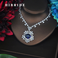 HIBRIDE Luxury Big Square Charm Blue Pendant Necklace For Women White Gold Color Torque For Women Slap up Accessories Gift N 506