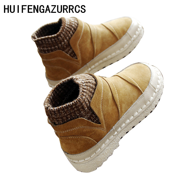HUIFENGAZURRCS Genuine leather women boots The soft bottom Martin Shoelace original hand stitching shoes wool mouthed