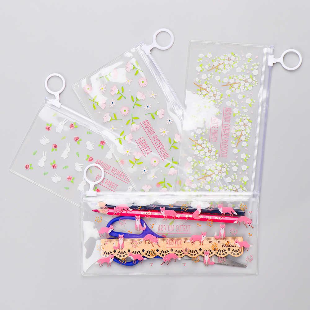4 wzory moda małe kwiaty zwierzęta drukuj pcv wodoodporne piórniki magazyn materiałów piśmienniczych biuro szkolne torby ołówkowe