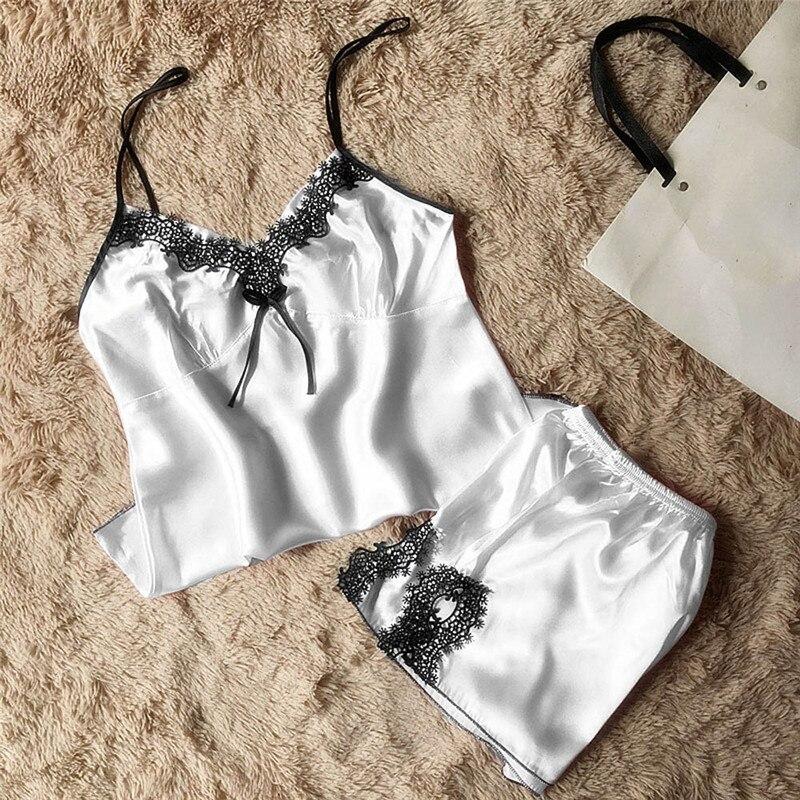 Women Sleepwear Sleeveless Strap Nightwear Lace Trim Satin Cami Top   Pajama     Sets   Pijama Feminino Pijamas Para Mulheres Z1