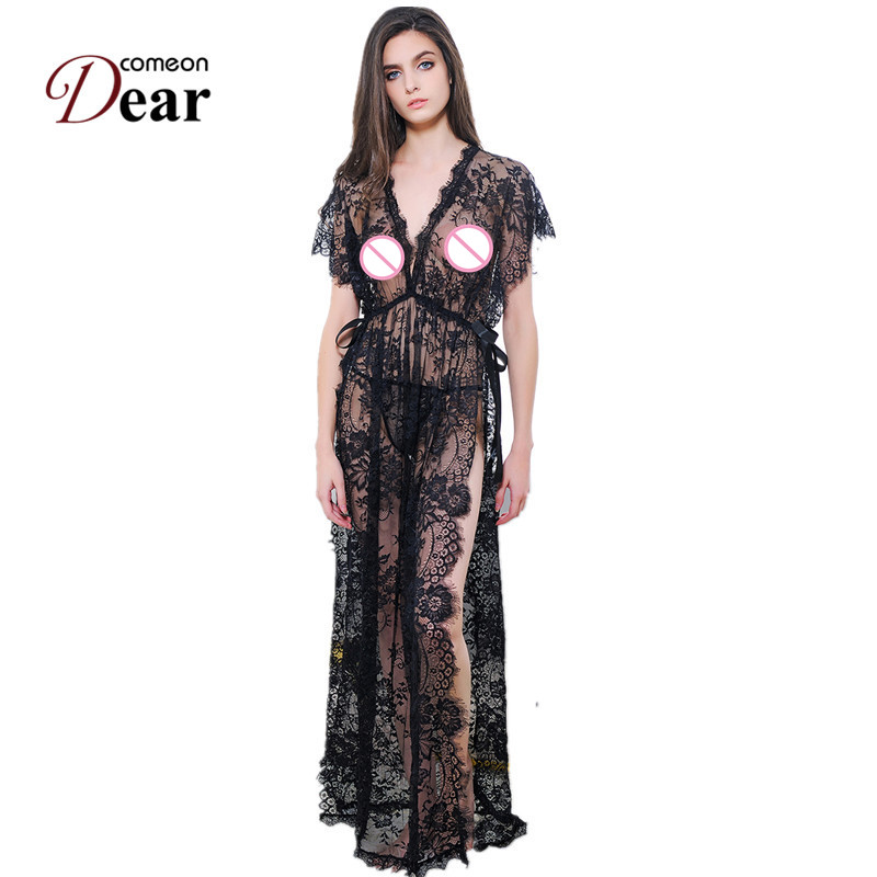 b45166bc5b Comeondear Black Deep V Maxi Sexy lingerie Erotic Design Sexy Night Gown  Exotic Apparel Split The Fork Bow Perspective RK80262