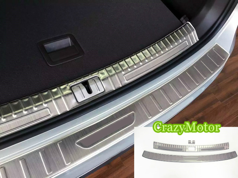 For Volkswagen tiguan 2016 2017 (2nd Gen) 2pcs Stainless steel car Rear Bumper Protector Sill Trunk Trim accessories car rear trunk security shield cargo cover for volkswagen vw tiguan 2016 2017 2018 high qualit black beige auto accessories