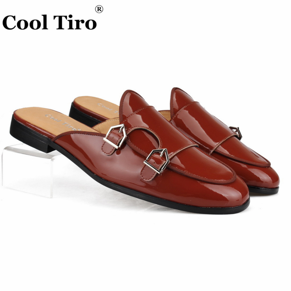 Cool Tiro Double Monk Mules Men Slippers Moccasins Brown Patent Leather Casual Shoes Handmade Flats Metal