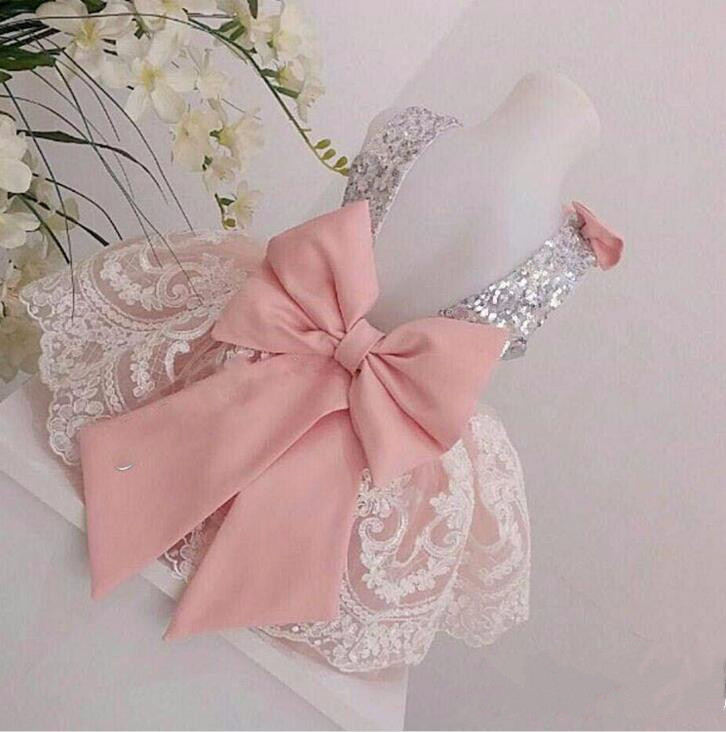 Pink Tulle White Lace Flower Girl Dresses with Bow Baby Girls 1 Year Birthday Party Dress toddler Girl Christmas Dresses 2017 fashion summer hot sales kid girls princess dress toddler baby party tutu lace bow flower dresses fashion vestido
