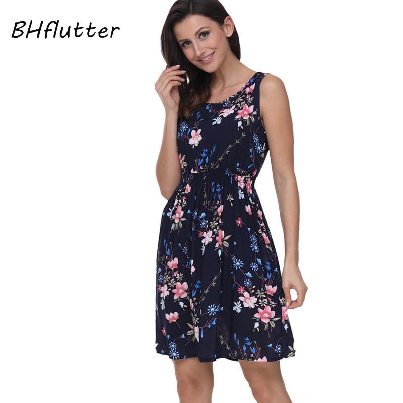 0fc734f161185 BHflutter 2018 Women Summer Dress Floral Print Sleeveless Casual Dress Tank  Dress Cotton Short Retro Vintage Dresses Vestidos - Kuko Fashion Store