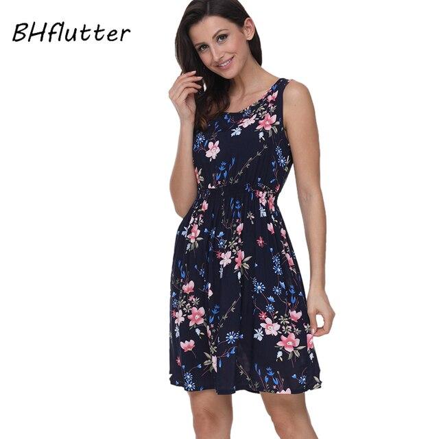 BHflutter 2018 נשים קיץ שמלה פרחוני הדפסת שרוולים מזדמן שמלת טנק שמלת כותנה קצר רטרו בציר שמלות Vestidos