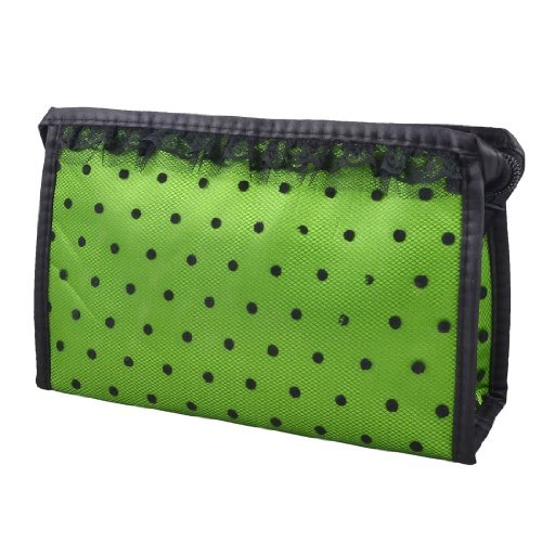 Wholesale 5*Black Lady Zippered Lace Dotted Mesh Rectangular Cosmetic Bag Pouch Organizer