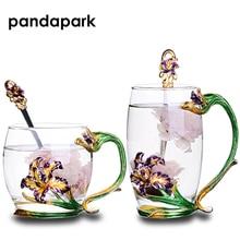 Taza de cristal del esmalte de oro del oro de MACK tazas Taza de café del desayuno de la taza de café de la oficina de leche MCG038