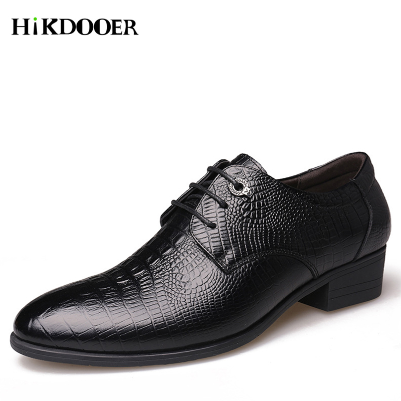 Shoes Mens Leather Formal Dress Shoes Male Imitate Snake Fish Skin Office Footwear Men Luxury Elegant Business Oxford Shoes 100% Guarantee Men's Shoes