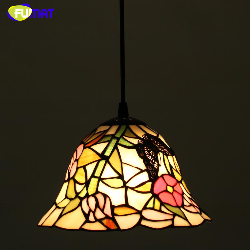 FUMAT Stained Glass Pendant Lamp European Style Glass Art Lightings For Living Room Kitchen Lamps Home Decor E27 Light Fixtrures fumat stained glass pendant lamps european style baroque lights for living room bedroom creative art shade led pendant lamp