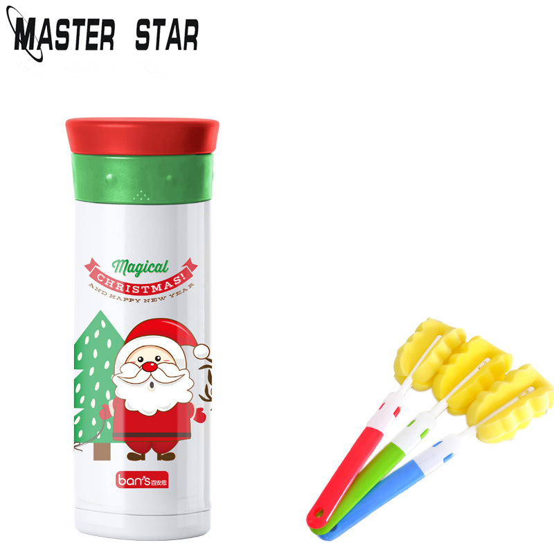 Master Star 480ml Santa Claus Stainless Steel Vacuum Flasks With One Cup Brush Cute Portable Children Water Bottle Thermocouple