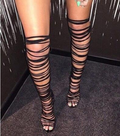 цена на Cut-Outs Summer Rome Style Strappy Lace-Up Thigh High Sandals Sexy Long Gladiator Sandals Open Toe High Heels Shoes Woman