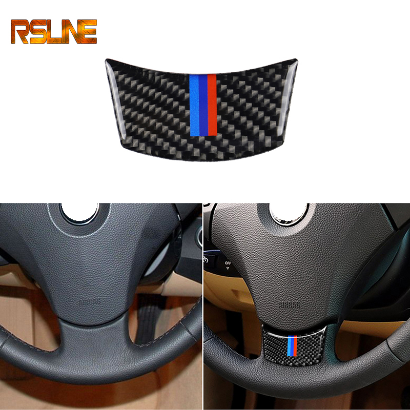 Carbon Fiber Steering Wheel Sticker M Stripe Emblem 3D Car Sticker For Bmw F10 F01 F07 5 Series 7 Series Car Styling Accessories