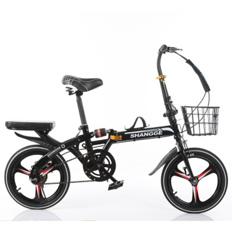 Folding Bicycle 16-Inch Grid Single Speed Disc Brake Men And Women Ultra-Light Student Portable Bicycle