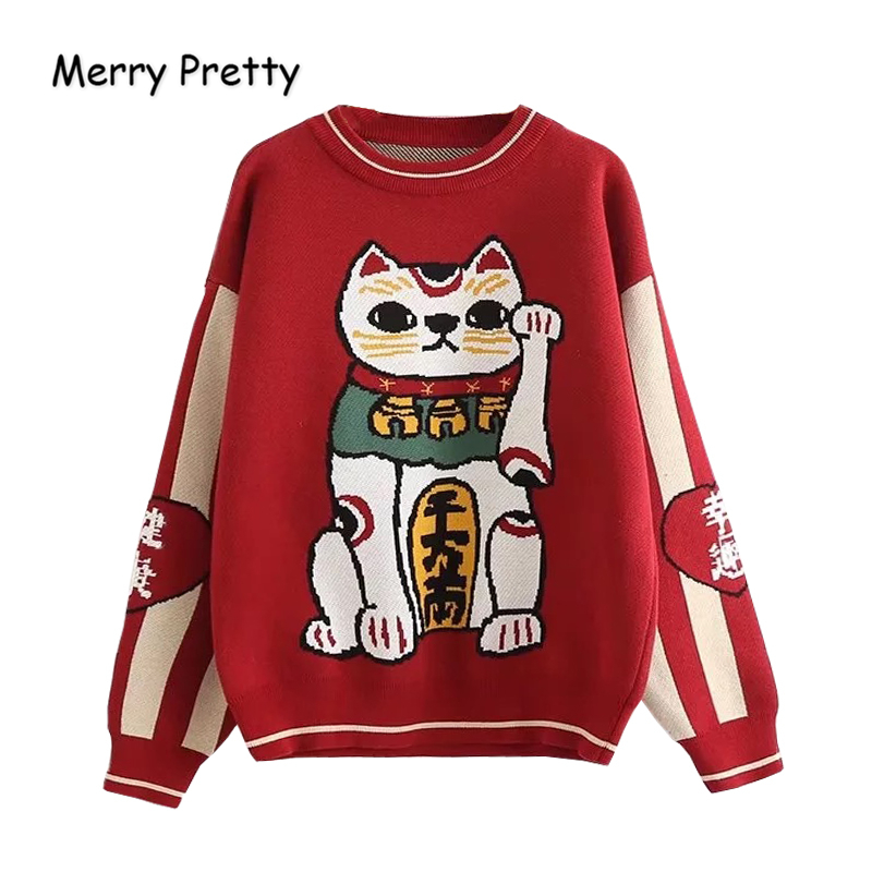 MERRY PRETTY Women Cartoon Lucky Cat Embroidery Red Sweaters Harajuku Kawaii Knitted Pullover Winter Long Sleeve O-Neck Sweater