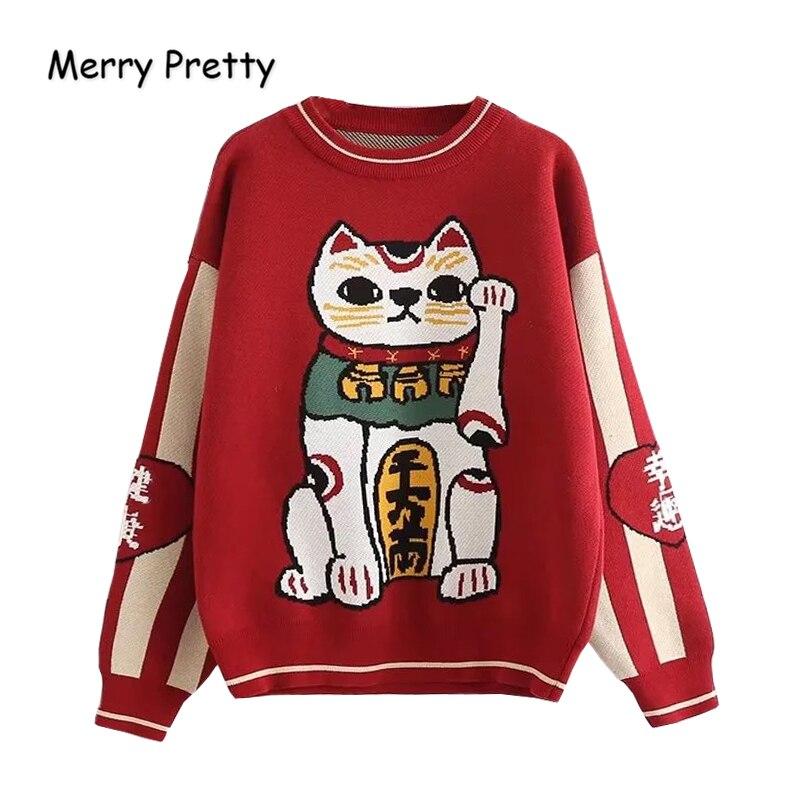 Wesołych ładne kobiety Cartoon Lucky Cat haft czerwony swetry Harajuku Kawaii dziergany sweter zima z długim rękawem O Neck sweter w Pulowery od Odzież damska na AliExpress - 11.11_Double 11Singles' Day 1
