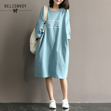 T-Shirt Dresses Robe Batwing-Sleeve Midi Cotton Women Summer Mori O-Neck Vestidos Autumn