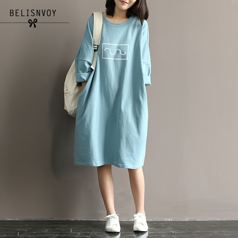 Summer Autumn 2019 Women Cotton T-shirt Dresses Mori Girl Style Loose O-neck Batwing Sleeve Midi Long Dress Robe Femme Vestidos