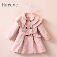 2016 Winter New Ruffles Collar Fashion Girl Outfits Double Breasted Belt Girls Coats Jackets Pink Khaki
