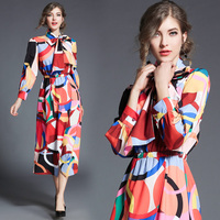Women S Clothing Europe Style 2018 New Spring Autumn Fashion Bow Printed Dress Split A Line