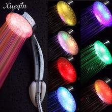 Xueqin Freeshipping Adjustable 7 Colors Led Bathroom Shower Head Saving Water Round Single Showerhead Bath Sprinkler