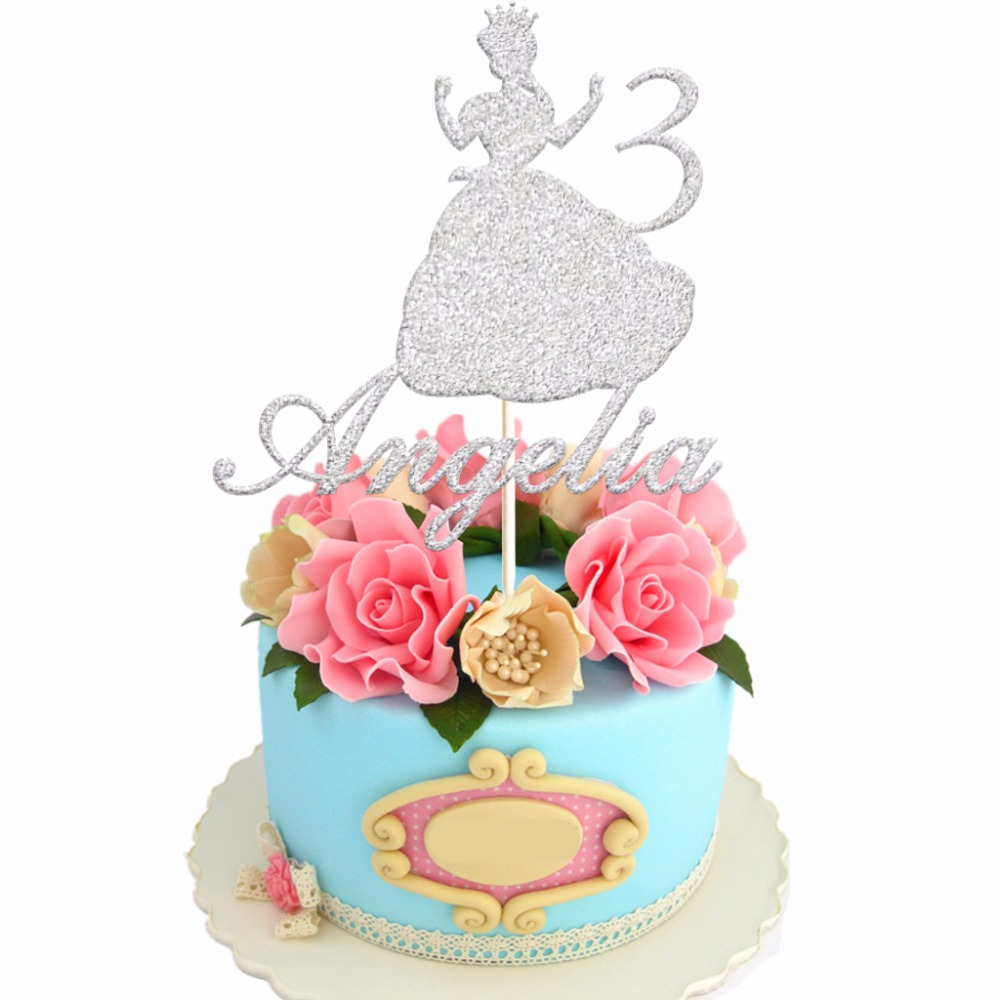 1pcs Personalized Girl With Crown Birthday Cake Topper Custom Name