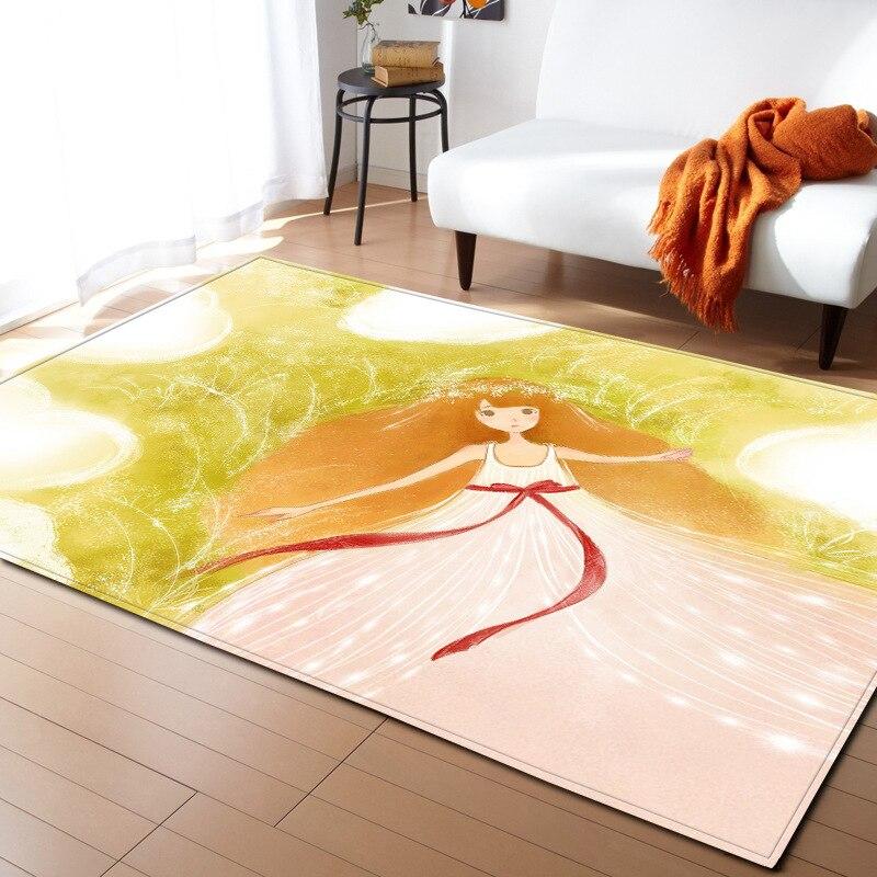 Illustration colorée tapis de bande dessinée pour le salon moderne tapis pour enfants anti-dérapant tapis de sol chambre Burrito couverture
