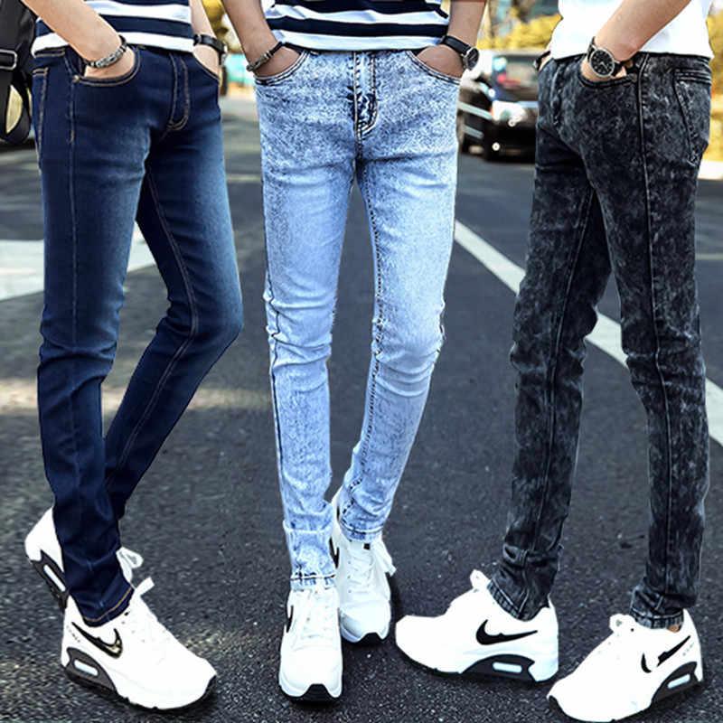 Pantalones Vaqueros Informales Para Hombre Jeans Ajustados Rectos De Alta Elasticidad Pantalones Largos De Cintura Holgada Novedad De 2021 Men Casual Jeans Fashion Men Jeansmens Fashion Jeans Aliexpress
