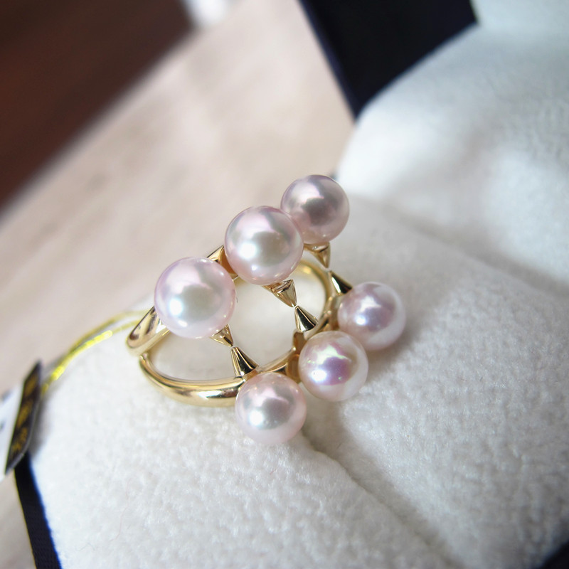 Éternel mariage femmes cadeau mot 925 Sterling réel japon Akoya permanent naturel eau de mer perle anneau cercle à cercle à un