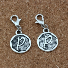10pcs Double sided Alphabet Disc  P Charms with Lobster clasp Fit Charm Bracelet DIY Jewelry Antique silver