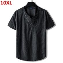 Extra Grote Code Plus Size Nationale Tij Brother 10XL 9XL Losse Katoenen Kraag Half Korte Mouw T shirt Borduren Mannelijke