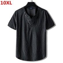 Extra Large Codice Più Il Formato Marea Nazionale Fratello 10XL 9XL Allentato Cotone di Metà di Collare Manica Corta T Shirt Del Ricamo di Sesso Maschile