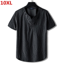 Extra large code plus size national tide  brother 10XL 9XL loose cotton  collar half short sleeve t shirt embroidery male