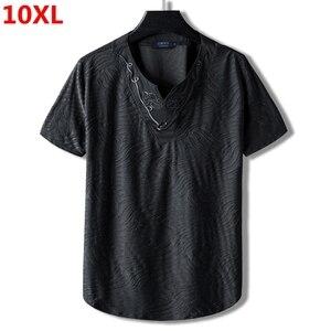 Image 1 - Lớn Mã Plus Kích Thước Quốc Triều Chính Anh Trai 10XL 9XL Rời Cotton Cổ Nửa Áo Thun Nữ Tay Ngắn Thêu Nam