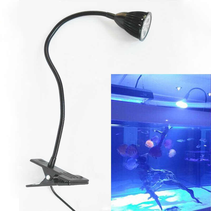 10W Aquarium LED Lighting - 40cm Flexible Metal Tubing & Switch, AC85-265V, For Clip on Fish Tank Lighting