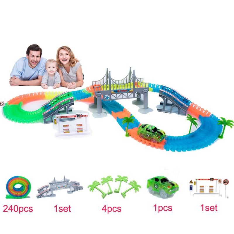 Piste magique 240 pièces/ensemble magique brillant course pistes ensemble Flexible course piste pont voiture jouet jouets créatifs cadeaux pour les enfants