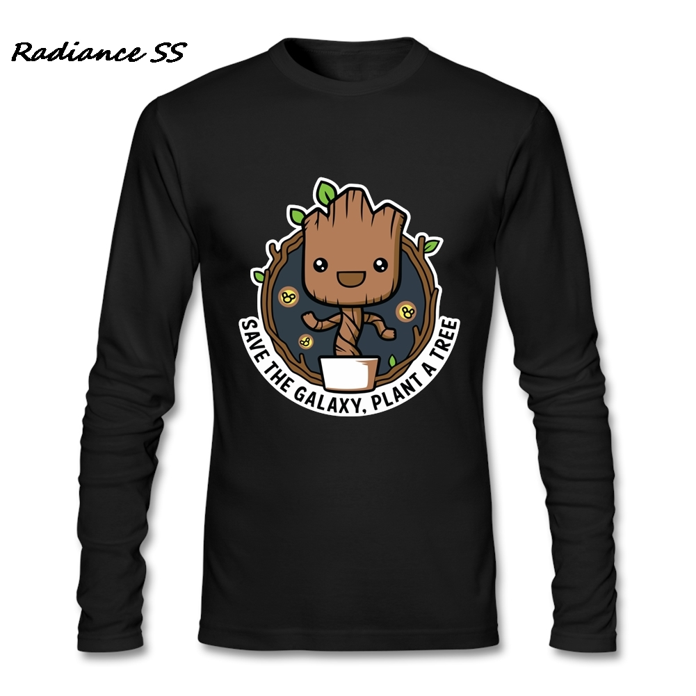 Brand Clothing Mens T Shirt Save The Galaxy Plant A Tree Long Sleeve Tees Cotton Harajuku Tee Shirt Men