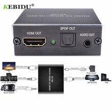 Kebidu extrator de áudio hdmi, para hdmi e óptico, toslink, spdif + 3.5mm, extrator de áudio estéreo, conversor de áudio hdmi divisor divisor