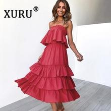 XURU 2019 summer new womens dress two-piece tube top shirt loose cascading ruffle