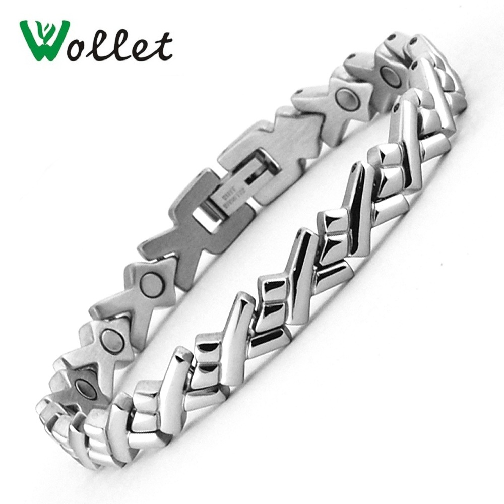 Wollet Jewelry Stainless Steel Magnetic Bracelet Bangle for Men Women Metallic Color Health Healing Energy Magnets