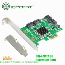 IOCREST PCI-e 4 порта 6 г SATA III 3,0 карта контроллера Marvell 88SE9215 non raid pcie 2,0×1 карта расширения низкий кронштейн