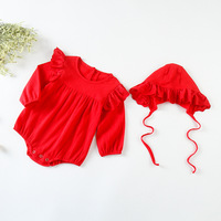 Fashion Baby Bodysuits Set Korean Newborn Infant Bodysuit For Girls Linen Cotton Lace Long Sleeve Jumpsuit With Hat Baby Clothes