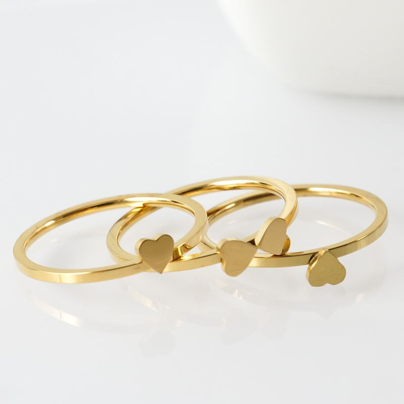 Stainless Steel Jewelry Unique Heart Rings Rose Gold Multilayer Ring for Women Nickle Free CZ Crystal Flower Combination Jewelry  - buy with discount