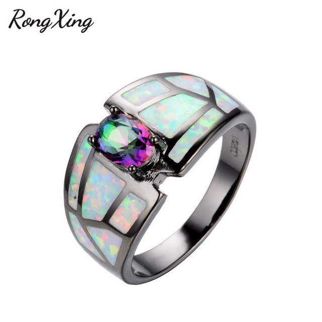 Rongxing Charming Rainbow Zircon White Fire Opal Ring Men Women